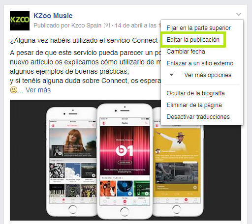 Editar Post Facebook consejos de marketing digital por KZoo Music