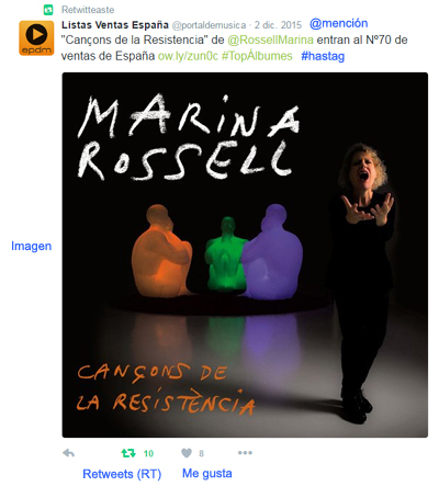 Tweet Marina Rossell by El Portal de Música aprende marketing online con Kzoo Music
